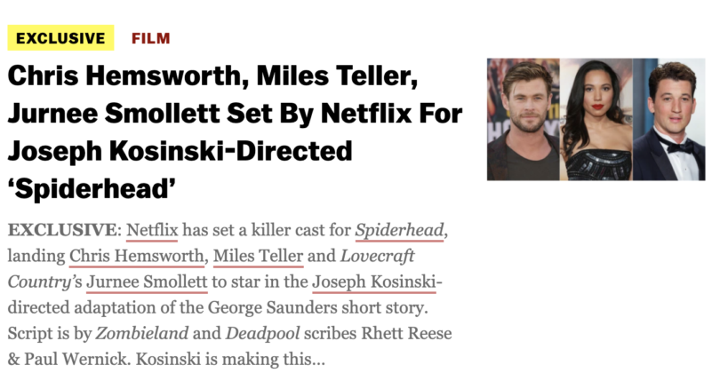 ESCAPE FROM SPIDERHEAD – Netflix film starring Chris Hemsworth, Miles Teller